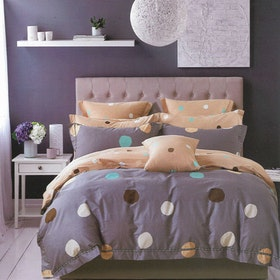 Sleep Buddy Set Sprei dan bed cover Polka Cotton Sateen 180x200x30