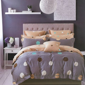 Sleep Buddy Set Sprei dan bed cover Polka Cotton Sateen 200x200x30