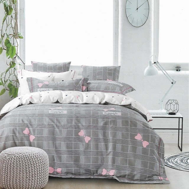 Sleep Buddy Set Sprei dan bed cover Square Ribbon Cotton Sateen 160x200x30