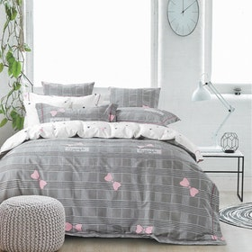 Sleep Buddy Set Sprei dan bed cover Square Ribbon Cotton Sateen 180x200x30
