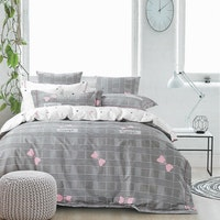 Sleep Buddy Set Sprei dan bed cover Square Ribbon Cotton Sateen 200x200x30