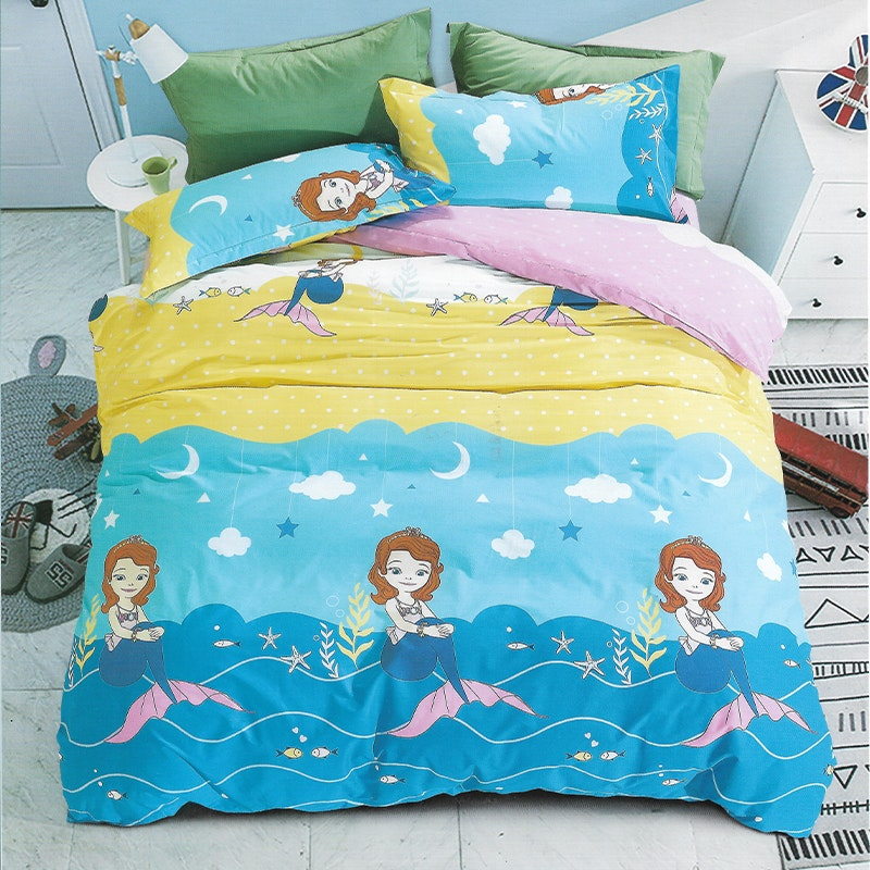 Sleep Buddy Set Sprei dan bed cover Mermaid Cotton Sateen 120x200x30