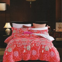 Sleep Buddy Set Sprei dan bed cover Red CNY Cotton Sateen 160x200x30