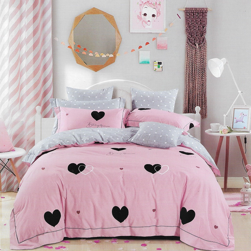 Sleep Buddy Set Sprei Pinky Love Cotton Sateen 120x200x30