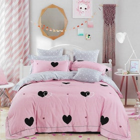 Sleep Buddy Set Sprei dan bed cover Pinky Love Cotton Sateen 120x200x30