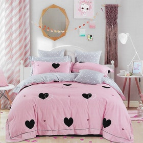 Sleep Buddy Set Sprei dan bed cover Pinky Love Cotton Sateen 160x200x30