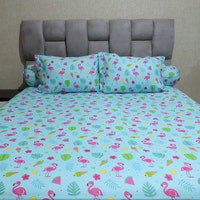 Sleep Buddy Set Sprei Blue Flamingo CVC 120x200x30