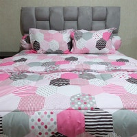 Sleep Buddy Set Sprei dan bed cover Mozaic Pink CVC 160x200x30