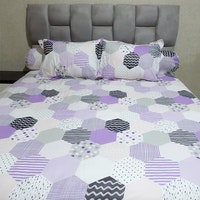 Sleep Buddy Set Sprei dan bed cover Mozaic Purple CVC 160x200x30