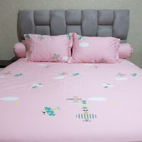 Sleep Buddy Set Sprei Pink Airplane Cotton Sateen 160x200x30