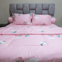 Sleep Buddy Set Sprei dan bed cover Pink Airplane Cotton Sateen 160x200x30