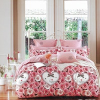 Sleep Buddy Set Sprei dan bed cover Love Flower Cotton Sateen 160x200x30