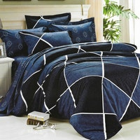 Sleep Buddy Set Sprei dan bed cover Lux Navy Cotton Sateen 160x200x30
