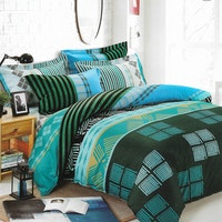Sleep Buddy Set Sprei Blue Pattern Cotton Sateen 160x200x30