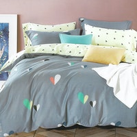 Sleep Buddy Set Sprei dan bed cover Cute Love Cotton Sateen 200x200x30