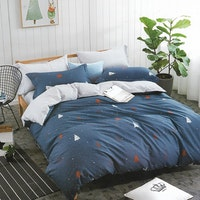 Sleep Buddy Set Sprei dan bed cover Dark Blue Christmas Cotton Sateen 200x200x30