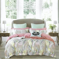 Sleep Buddy Set Sprei dan bed cover Brown Leaf Cotton Sateen 180x200x30