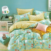 Sleep Buddy Set Sprei dan bed cover Happy Day Cotton Sateen 180x200x30