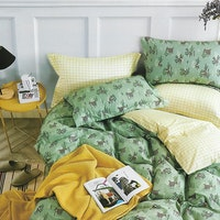 Sleep Buddy Set Sprei Green Cow Cotton Sateen 160x200x30