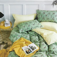 Sleep Buddy Set Sprei Green Cow Cotton Sateen 180x200x30