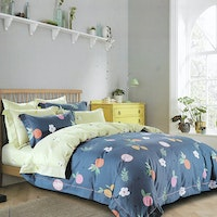 Sleep Buddy Set Sprei dan bed cover Fruity Dark Cotton Sateen 200x200x30