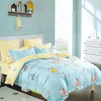 Sleep Buddy Set Sprei Cotton Blue Cow Sateen 160x200x30