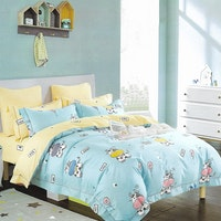 Sleep Buddy Set Sprei Cotton Blue Cow Sateen 180x200x30