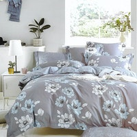 Sleep Buddy Set Sprei Flower Grey Cotton Sateen 160x200x30
