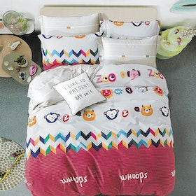 Sleep Buddy Set Sprei dan Bed Cover Whoops Animal Cotton Sateen 200x200x30