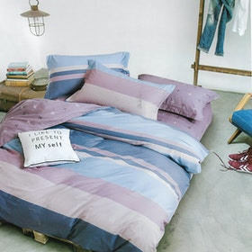 Sleep Buddy Set Sprei dan bed cover Pastel Line Cotton Sateen 160x200x30