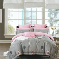 Sleep Buddy Set Sprei dan bed cover Grey Feather Cotton Sateen 160x200x30