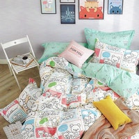 Sleep Buddy Set Sprei dan bed cover Rila White Cotton Sateen 160x200x30