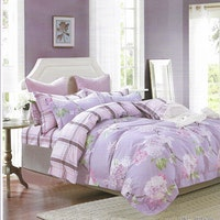 Sleep Buddy Set Sprei dan bed cover Chrysant Purple Cotton Sateen 160x200x30