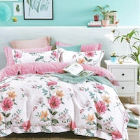 Sleep Buddy Set Sprei dan bed cover White Flower Cotton Sateen 186x200x30