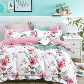 Sleep Buddy Set Sprei dan bed cover White Flower Cotton Sateen 200x200x30