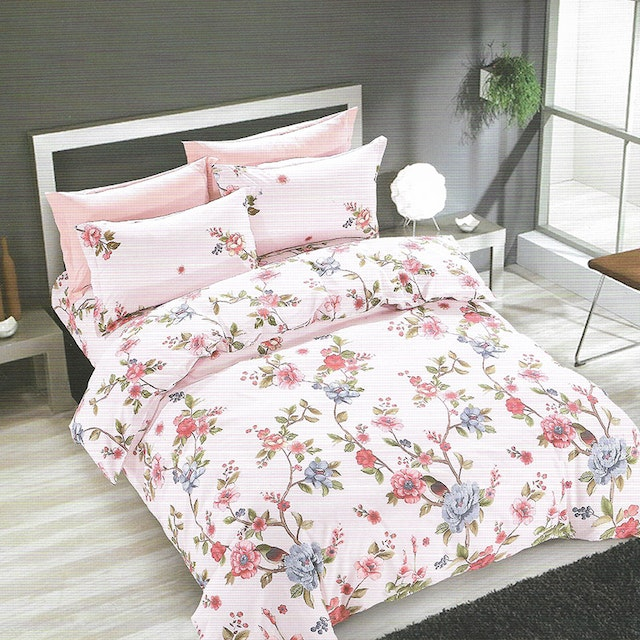 Sleep Buddy Set Sprei Rose Garden Cotton Sateen 200x200x30