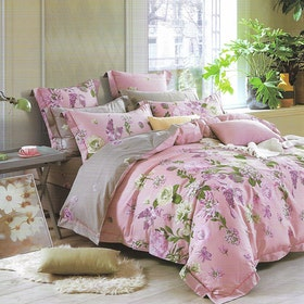Sleep Buddy Set Sprei dan bed cover Garden Pink Cotton 180x200x30