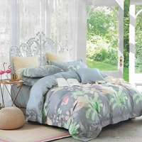 Sleep Buddy Set Sprei Flamingo On Grey Cotton Sateen 160x200x30