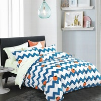 Sleep Buddy Set Sprei Chevron Orange Cotton Sateen 160x200x30