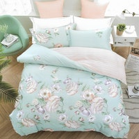 Sleep Buddy Set Sprei Dahlia Mint Cotton Sateen 160x200x30