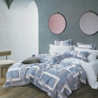 Sleep Buddy Set Sprei Blue Frame Cotton Sateen 160x200x30