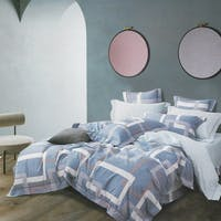 Sleep Buddy Set Sprei dan Bed Cover Blue Frame Cotton Sateen 180x200x30