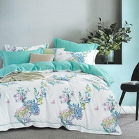 Sleep Buddy Set Sprei dan Bed Cover Lheya White Cotton Sateen 180x200x30