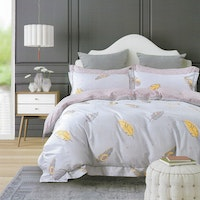 Sleep Buddy Set Sprei Feather Leaf Cotton Sateen 180x200x30