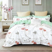 Sleep Buddy Set Sprei dan Bed Cover Flower Marble Cotton Sateen 180x200x30