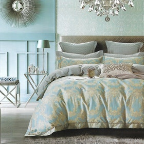 Sleep Buddy Set Sprei dan Bed Cover Classic Damask Cotton Sateen 180x200x30