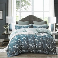 Sleep Buddy Set Sprei dan Bed Cover Small Orchids Cotton Sateen 200x200x30