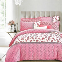 Sleep Buddy Set Sprei dan Bed Cover Chic Flower White Cotton Sateen 180x200x30