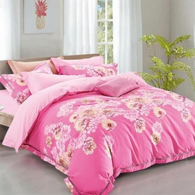Sleep Buddy Set Sprei dan Bed Cover Smash Pink Cotton Sateen 160x200x30
