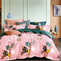 Sleep Buddy Sleep Buddy Set Sprei Pink Monstera Cotton Sateen 160x200x30